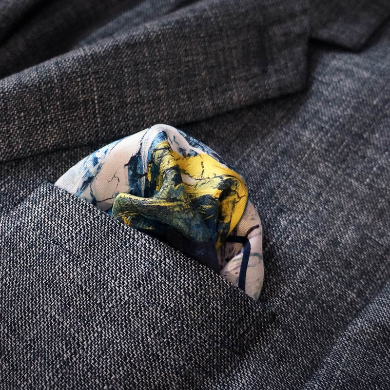 Designer yellow navy designer pocket square - Eleonora de Rossi