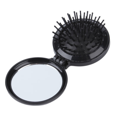Essential Folding Hair Brush with Compact Mirror - Black