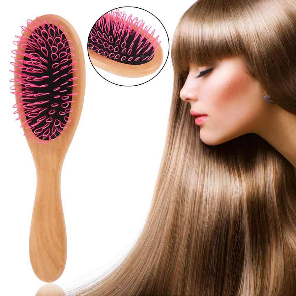 Detangling Wooden Hair Brush with Anti Static Technology