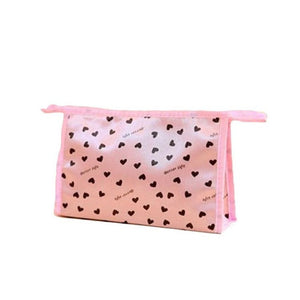 Light Pink Heart Print Makeup Cosmetics Bag