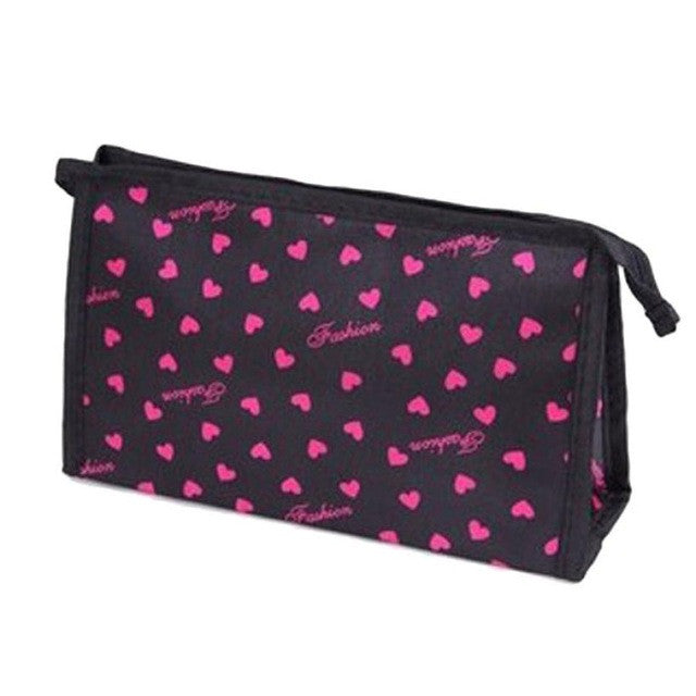 Black Heart Print Makeup Cosmetics Bag
