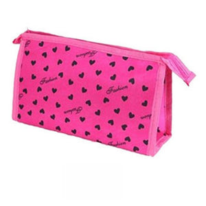 Pink Heart Print Makeup Cosmetics Bag
