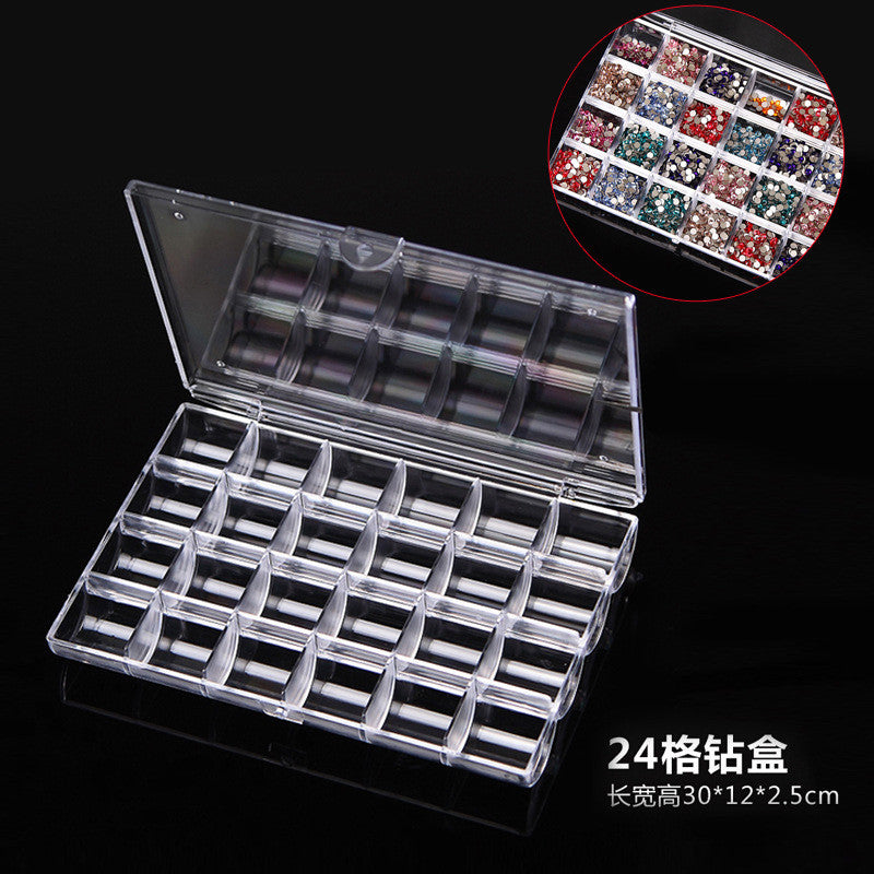 Nail Art Transparent Plastic Storage Box with 24 Compartments