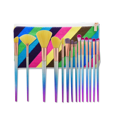Multi Colour Makeup Brush Set with Matching Bag - 14 Brushes