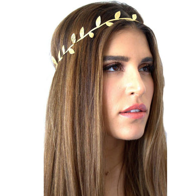 Gold or Silver Headband with Leaves Design