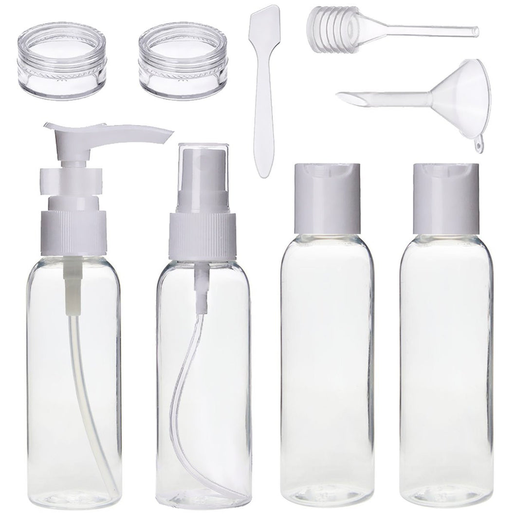 9pcs Travel Bottle Set for Liquid Toiletries & Cosmetics