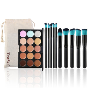 15 Colour Face Contour Palette with 10 Makeup Brushes & Bag