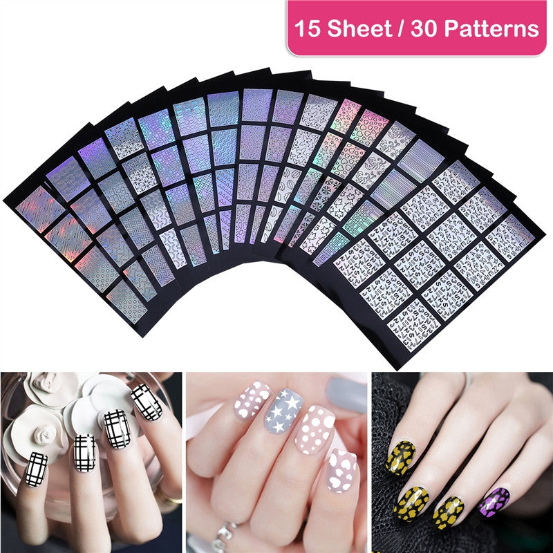15 Sheets DIY Nail Art Stickers/Decals with 30 Different Designs