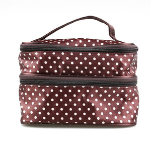 Polka Dot Two-layer Cosmetic Makeup Bag - Burgundy