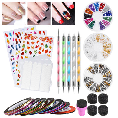 Beginners Nail Art Kit with Sponges, Dotting Pens & Decal Stickers