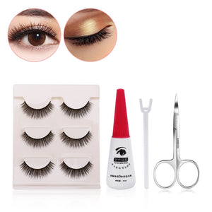 Set of 3 False Eyelashes with Tools - Clip, Scissors and Eyelash Glue