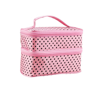 Polka Dot Two-layer Cosmetic Makeup Bag - Pink