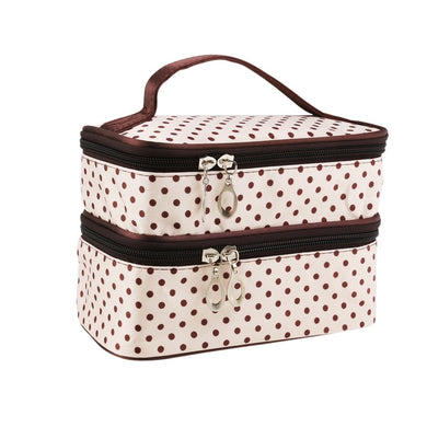 Polka Dot Two-layer Cosmetic Makeup Bag - Cream