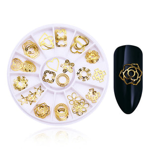 Snowflake & Intricate Shapes 3D Nail Decorations in Gold