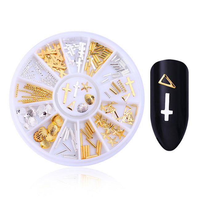3D Crosses Nail Art Decorations in Gold & Silver