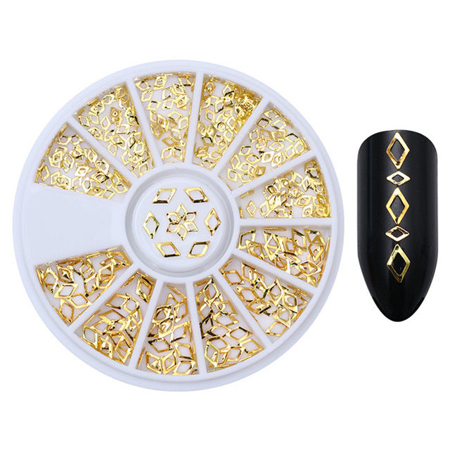 Hollow Metal 3D Nail Art Decorations in Gold