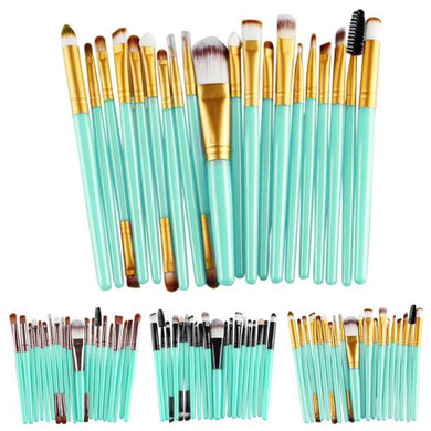 Set of 20 Makeup Brushes - Jade Green with Black/Gold/Rose Gold