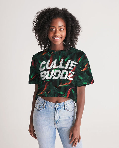 Brighter Days Collection All Over Print Women's Lounge Cropped Tee