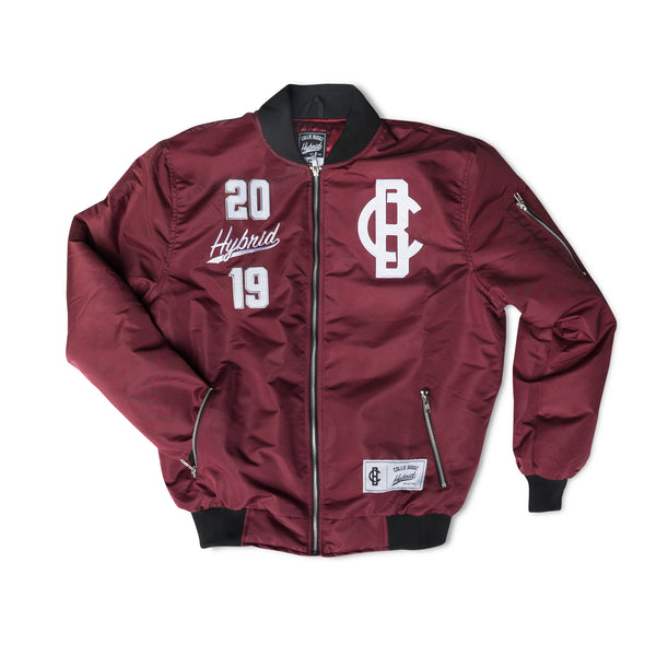 Hybrid Collection Bomber Jacket Maroon