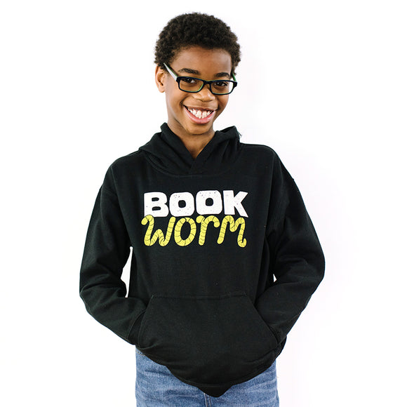 Child Wearing Big Me Black Book Worm Sweatshirt