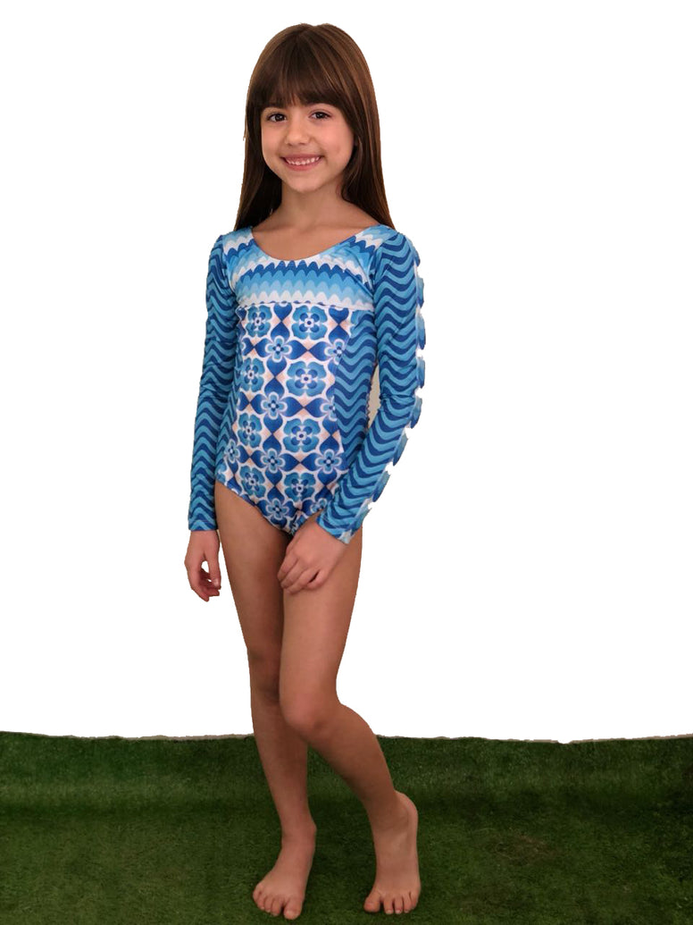 Blue Waves Long Sleeve Swimsuit