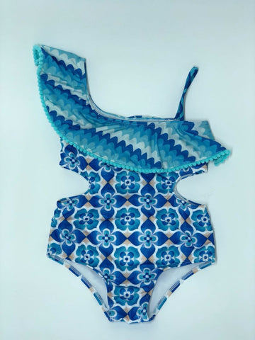 Blue Waves One Shoulder Swimsuit