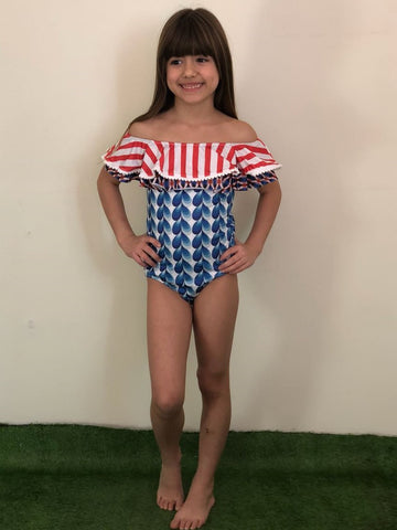 Circus Stripes Ruffle Swimsuit