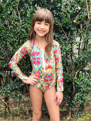 Flower Mix Long Sleeve Ziper Swimsuit