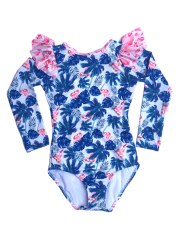 Flamingo Beach Long Sleeve Swimsuit