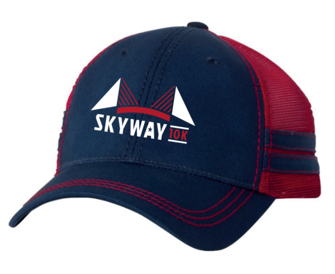 Skyway 10K Navy and Red Sportsman Trucker Cap with stripes