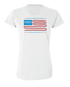 "Women's Skyway 10K ""I ran"" white short sleeve tee"
