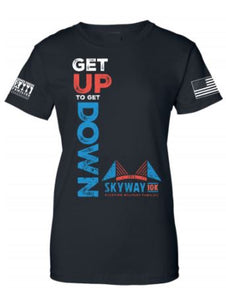 "Women's Skyway 10k ""Get up to Get Down"" black tee"