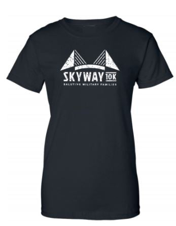 Women's Skyway 10K bridge stats black tee