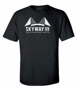 "Unisex Skyway 10K ""Bridge Stats"" black tee"