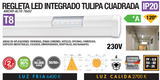 RÉGUA LED INTEGRADO TAMPA QUADRADA 18W 36W IP20 120º T8 230V AC