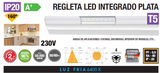 RÉGUA LED INTEGRADO 6W 9W 13W 16W PRATA T5 IP20 160º 230V AC