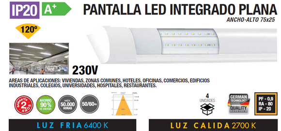 PLACA LED INTEGRADO 16W 32W PLANA IP20 120º 230V AC