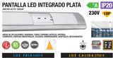 ARMADURA LED INTEGRADO 18W 36W PRATA IP20 120º 230V AC