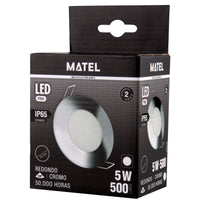 ARO COM LED INTEGRADO BRANCO NIQUEL CROMO 5W ESTANQUE IP65 230V AC