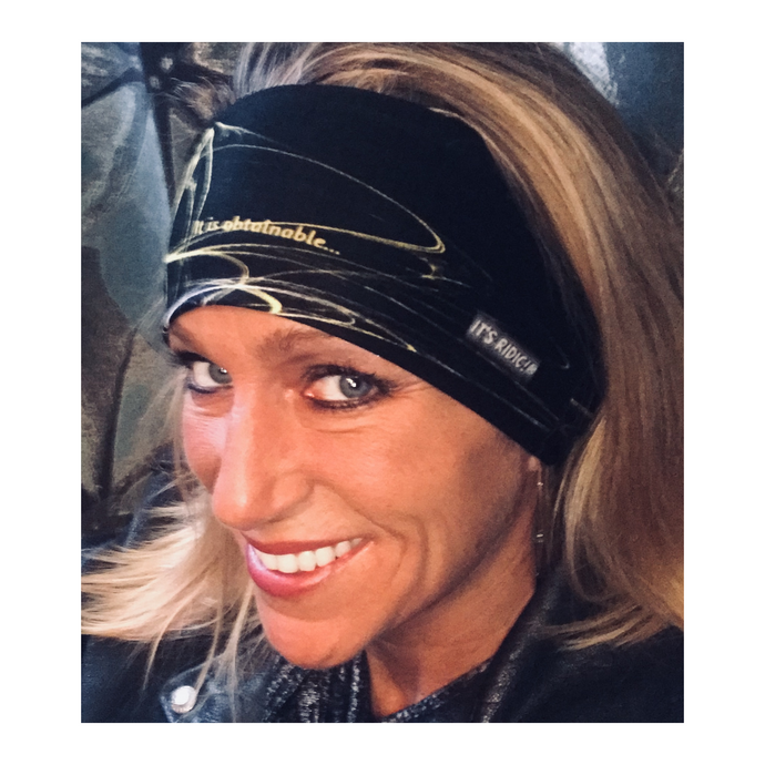Black & yellow headband / bandana showing text