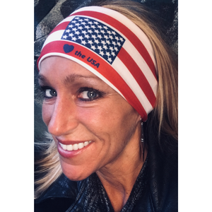 "Womens biker bandanas w/ USA flag and text ""Love the USA"" Headband"
