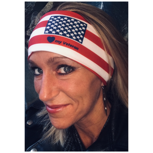 "Womens red, white, and blue biker bandanas ""Love my Veteran"" Riding / Workout Headband"