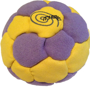 Purple and Yellow 32-panel pellet Hacky Sack