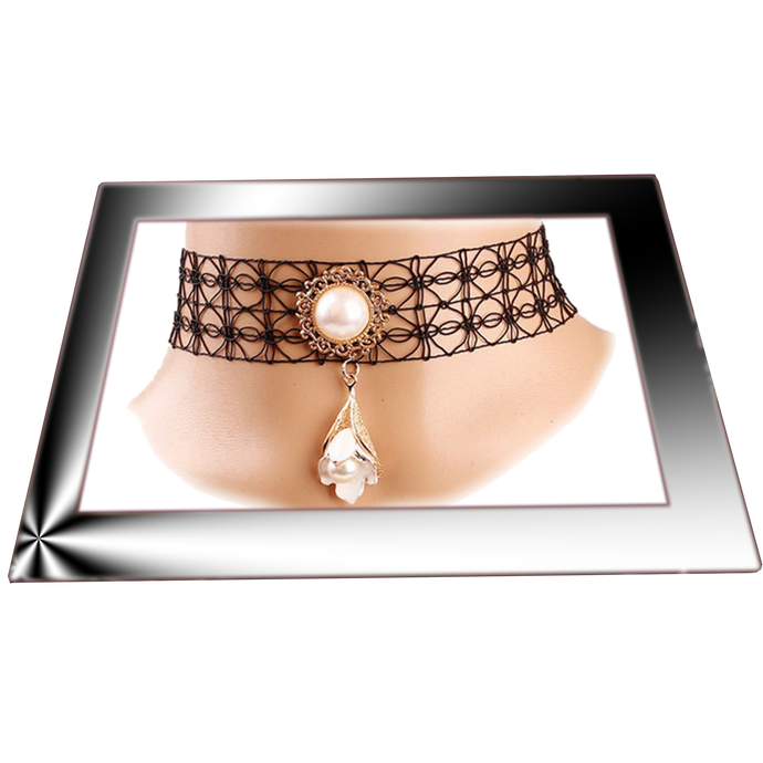Lace Choker Necklace with Charm