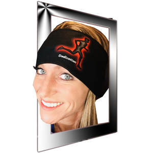 "Womens biker bandanas displaying a runner & ""Dedication"""