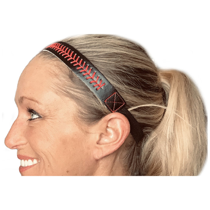 Softball / Baseball Theme Girls / Womens Headbands - Black with Red Stitching