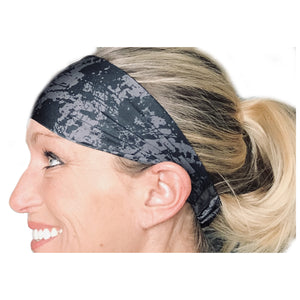Black and grey / gray Sweat Absorbing Stretch Athletic Sports Headband