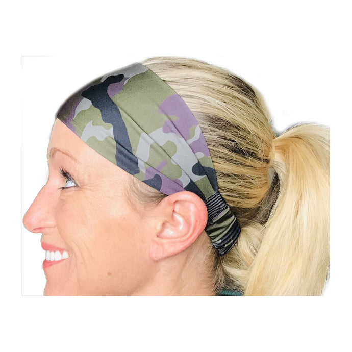 Military Black, Green, Purple Sweat Absorbing Stretch Athletic Sports Headband