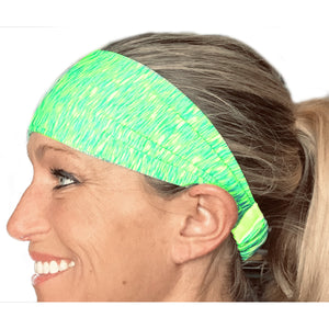 Light Green and Yellow Sweat Absorbing Stretch Athletic Sports Headband