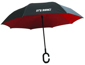 Black and Red Double Layer Windproof Inverted Umbrella with C-Shaped Handle